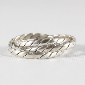 Sterling Silver Braided Cable Rolling 3-Band Ring